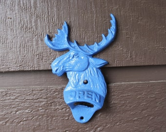 Moose Bottle Opener cast iron Blue