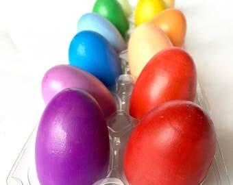 Easter Eggs - Wooden Rainbow Eggs - Easter Egg Hunt - Easter Basket Stuffers - Wood Pretend Food - Easter Gift for Kids - Waldorf Toy