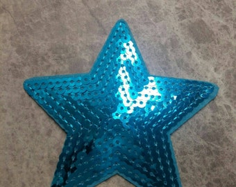 Star Patch Blue Sequin Iron on Applique