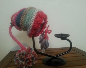 Long Tail Pom Pom Hat