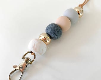 Blush pink, rose gold and granite beaded lanyard, key chain