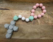 Teething Chew Rosary Single Decade, CATHOLIC, Great Baby Shower and BAPTISM Gift, Chewelry Hand held Baby Teether