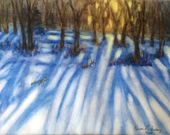 Snowy Shadows (Original watercolor, matted and framed)