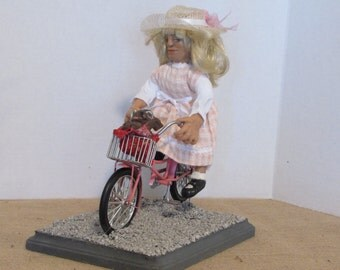 "OOAK Art Doll, Polymer Clay Doll, ""Miss Maude and Henry"" Handmade by Sherry Harrison  **Free Shipping"