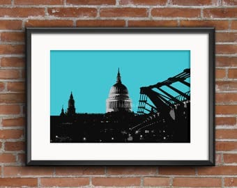 St. Pauls Cathedral London, Litho style print, London Print, London Gift, Father's Day gift