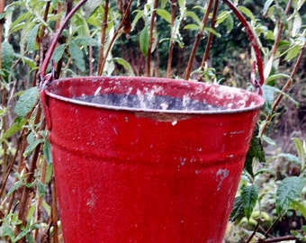 Gorgeous Vintage Red Fire Bucket