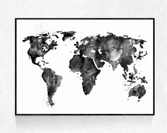 Black and white map etsy watercolour map large print map poster scandinavian print modern minimalist world map gumiabroncs