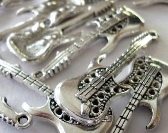 Silver Tone Metal Electric Guitar Pendants - H240