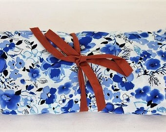 Blue Floral Polyester/Craft Supplies & Tools/ Fabric/ Floral Fabric/ Dress Making/ Doll Making/ Sewing/ Haberdashery