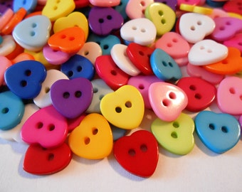 Multicolored Heart Buttons Resin Buttons 11 mm Heart Shaped Buttons Kids Buttons Mixed Colors Button Crafts Sewing Knitting Crochet Supplies