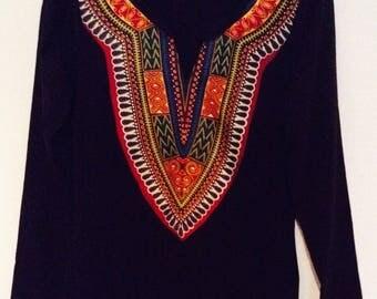 Black Dasheki  African print long sleeve t-shirt