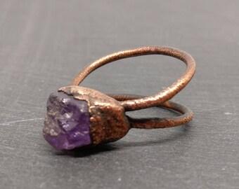 Dual Band Electroformed Raw Amethyst Ring