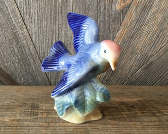 Vintage Blue Bird Figurine {Blue Flying Bird} Ceramic Statue, Figure, Vintage Farm Decor Blue Kitchen Home and Living Bright Unmarked