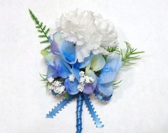 White Carnation Boutonniere-White Carnation and Blue Hydrangea Boutonniere-Wedding-Prom-Special Event-White Carnation Boutonniere