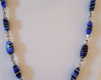 Crystal and blue glass necklace with bracelet