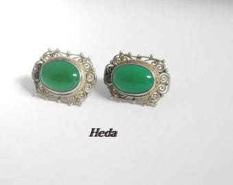 Vintage Handmade sterling Silver Natural Green Chalcedony Earrings