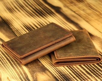 Genuine Leather Wallet- Handmade Wallet- Vintage Three-Fold