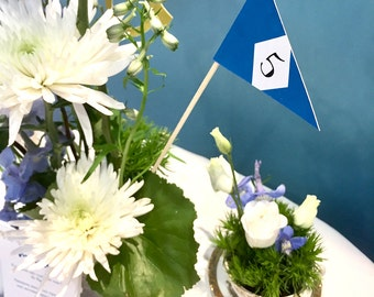 lot of 10 number of table flag, blue Pennant, wedding, party, babyshower