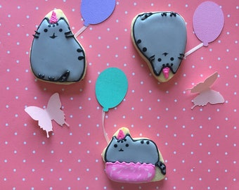Pusheen The Cat Sugar Cookies | Perfect for Birthdays and gift giving | 1 dozen
