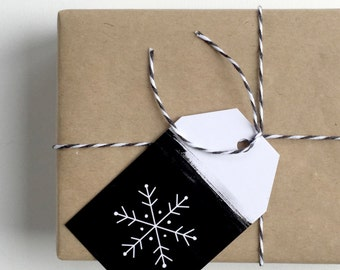 Black + White Christmas Gift Tags