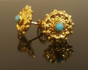 Victorian 9K Yellow Gold Turquoise Flower Stud Earrings
