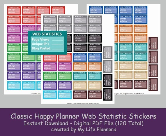 CLASSIC Happy Planner Web Statistic Stickers, Printable Stickers, MAMBI,  Functional Stickers, Letter Size 8.5 x 11, PDF Digital Download from  MyLifePlanners ...