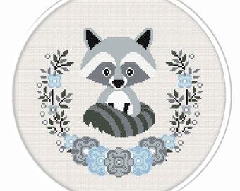 Buy 2 get 1 free. Raccoon cross stitch pattern. (#P- 1281). Baby Raccoon Cross Stitch, Nursery Cross Stitch, Animal cross stitch pattern.