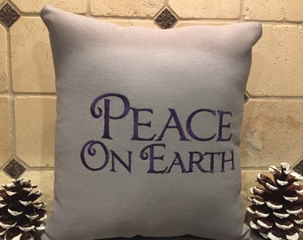 Embroidered Peace on Earth Christmas Pillow
