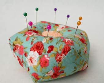 Pin Cushion - Sewing Accessory - Biscornu - Ditsy Floral Fabric - Buttons - Pink and Green - Handmade - Sewing Gift
