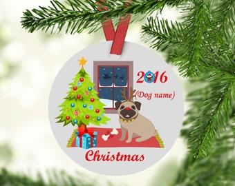 Pug Christmas Ornament, Pugs, Custom Pug Ornament, Pugs First Christmas, Dogs First Christmas Ornament, Dog Ornament, Pug Ornament, Pug Gift