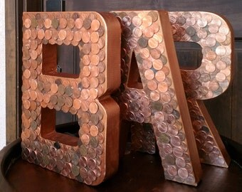 "8"" Set of THREE-Decorative Letters, Copper Letters, Penny Monogram, BAR Sign, Wall Decor, Wall Accents, Summer Decor, Penny Art"