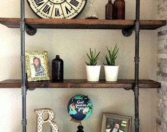 Set of Two Industrial Chic Pipe Shelves