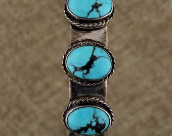 Navajo Sterling Silver 7 Stone Robin's Egg Turquoise Cuff Bracelet