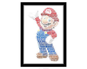 PERSONALISED Super Mario Nintendo Word Art Print Gift Idea Birthday Present Mario Theme Luigi Wall Art Home Print 18th 21st 30th 40th PG0021