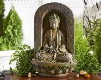 Buddha Statue Water Fountain - Thai Art - Garden Fountain - Water Fountain - Garden Decor - Outdoor Garden - Zen - Buddhism - Buddha Decor