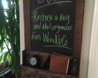 Entry way key and mail organizer, hanging key, mail, phone, chalk board organizer