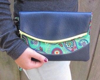 Fold over Foldover Wristlet Clutch Purse Green Paisley Navy Blue Vegan Vinyl Leather