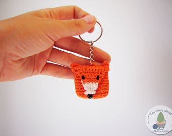 Wallet and key ring Fox miniature crochet