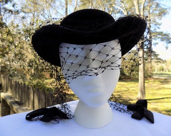Vintage 40's 1940's Black Wool Riding Equestrian Style Hat