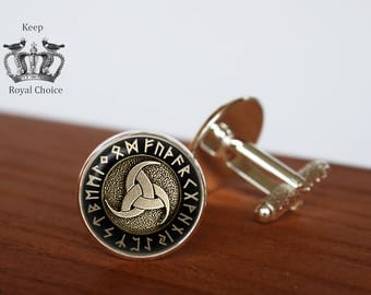 Triple Horn of Odin Rune Circle pair of cufflinks, Rune cuff links,Tie clip, Personalized Men Wedding Jewelry, gift for dad