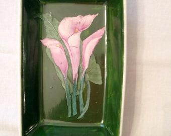 Pink calla Lillies dish
