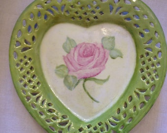 Heart shaped dish with rose