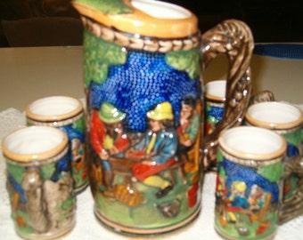vintage ceramic pitcher set