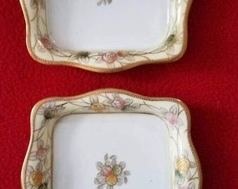 1910-1920s Nippon small, square  dishes. Morimura