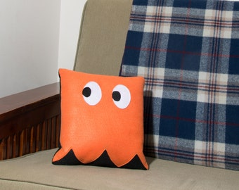 Decorative Felt & Fleece Orange Ghost from Pac Man Pillow