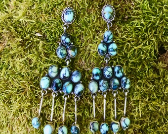 Turquoise Cluster Earrings with Four Dangling Cabochons