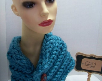 Neck (snood) cache or covers (color teal) head, button wood # 213