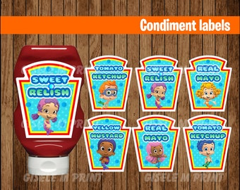 Bubble Guppies Condiments Label, Printable Bubble Guppies Condiments Label, Bubble Guppies party Condiments Label instant download