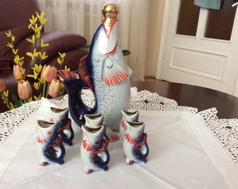 Cobalt Porcelain Drinking Set - family fish - Decanter and 6 glasses