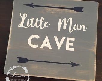 Little Man Cave Wood sign- Boys room decor- Playroom decor- Nursery Decor- Wood sign